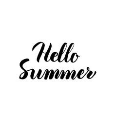 Hello summer handwritten lettering vector