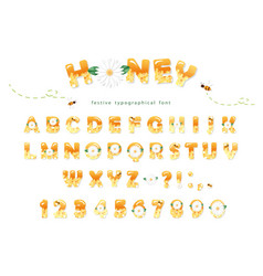 Honey font design glossy sweet abc letters and vector