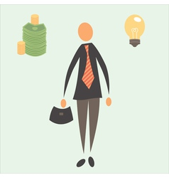 Businessman with money and idea vector