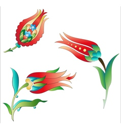 Ottoman art flowers three vector