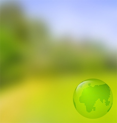 Blurred landscape background with globe vector