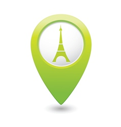 Eifel tower icon on map pointer green vector