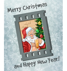 Frame of selfie of santa claus with beer vector