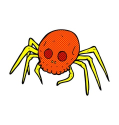 Comic cartoon spooky halloween skull spider vector