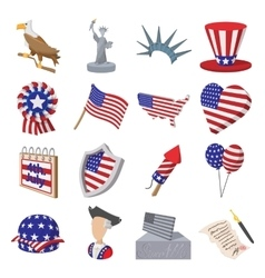 Independence day cartoon icons vector