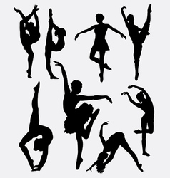 Traditional and modern dance silhouette vector