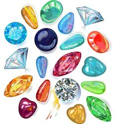Array of precious stones vector image vector image