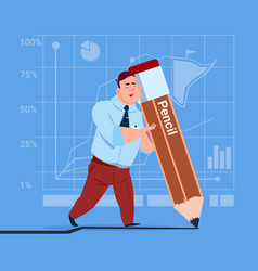 Business man holding big pencil writing office vector