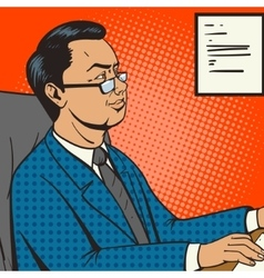 Businessman in office pop art retro style vector image