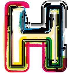 Colorful Grunge font LETTER H vector image