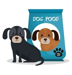 Cute dog with bag food mascot icon vector