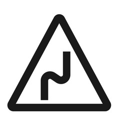 dangerous double bend sign line icon vector image vector image