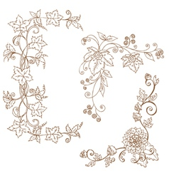 Decorative autumn branches vector