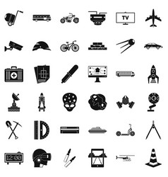 Development in progress icons set simple style vector