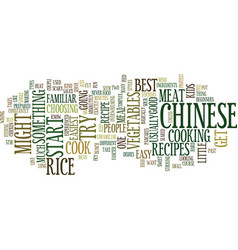 good chinese recipes for beginners text vector image vector image