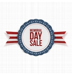 Memorial Day Sale festive Emblem and Ribbon vector image vector image