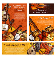 music festival poster of musical instruments vector image