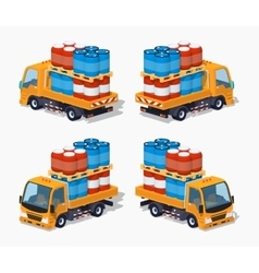 Orange truck loaded with barrels vector image