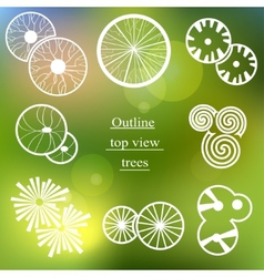 Outline set Trees top view for landscape design vector image