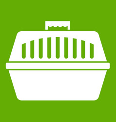pet carry case icon green vector image vector image