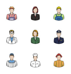 Profession icons set cartoon style vector