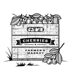Retro crate of cherries black and white vector image