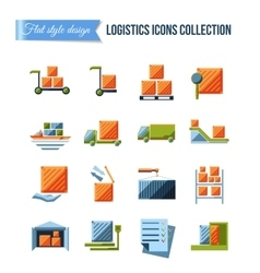 Set of delivery and logistics systems flat icons vector image