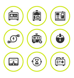 Set round icons of electrical generator vector