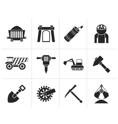 Silhouette Mining and quarrying industry objects vector image
