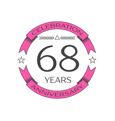 Sixty eight years anniversary celebration logo vector