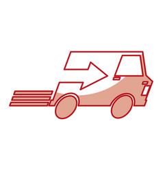 Van with arrow delivery service icon vector