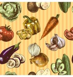 Vegetables sketch color seamless pattern vector image