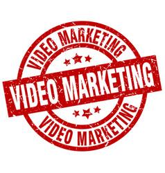 Video marketing round red grunge stamp vector
