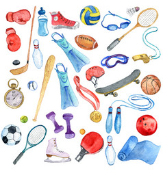 watercolor sport doodle set vector image