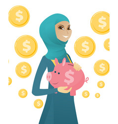Young muslim business woman holding a piggy bank vector