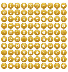 100 moon icons set gold vector