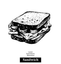 Sandwich vintage fast food hand drawn sketch  vector