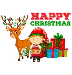 Christmas theme with baker and reindeer vector image
