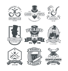 Set of vintage gentleman emblems labels vector