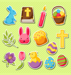 Happy easter set of decorative objects eggs and vector