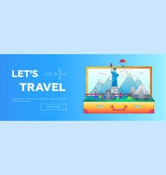 Lets travel - line travel web page header vector