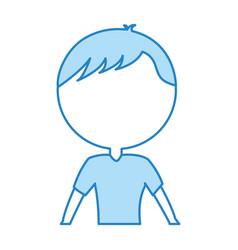 Cute blue upper body man cartoon vector