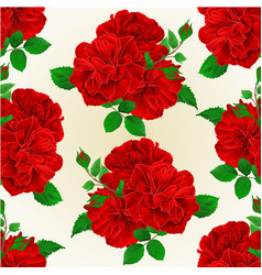 Seamless texture bunch three red roses with buds vector