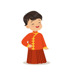 Boy wearing red national costume of china colorful vector