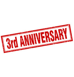 3rd anniversary square stamp vector