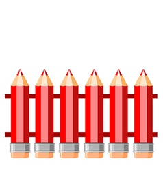 Fence of red pencils vector