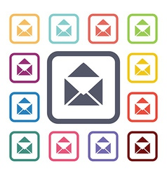 Mail flat icons set vector