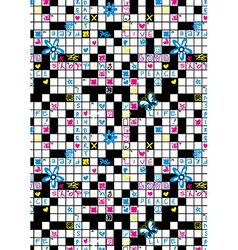 Crossword puzzle repeat pattern with flowers and vector