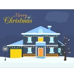 Big house with christmas light and decoration vector
