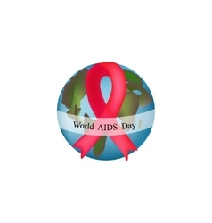 World aids day globe with red ribbon vector